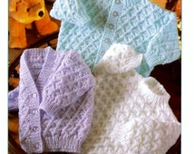 Knitting Patterns With Two Colors : Baby Cardigan Knitting Pattern 8 Ply - White Polo Sweater