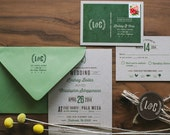 Rustic Kraft and Modern Wedding Invitation : Olive Green Nature Inspired Invitation