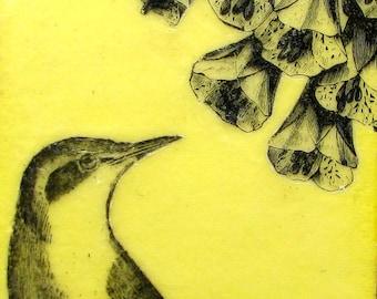 Bird and Flowers Original Encaustic Painting