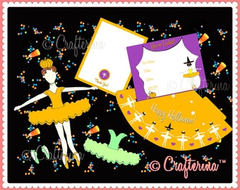 Halloween Party Printable Kit - DIY PDF - Paper Doll - Invitations - Party Favors