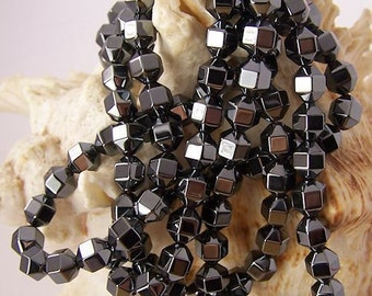 "Hematite (Non-Magnetic) Faceted Barrels - 15.5"" inch strand - 2 sizes to choose from"