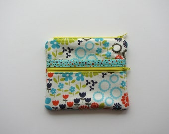 Colorful and bright floral print zippered bag with multiple compartments - zippered bag - wallet - organizer - card wallet - organization