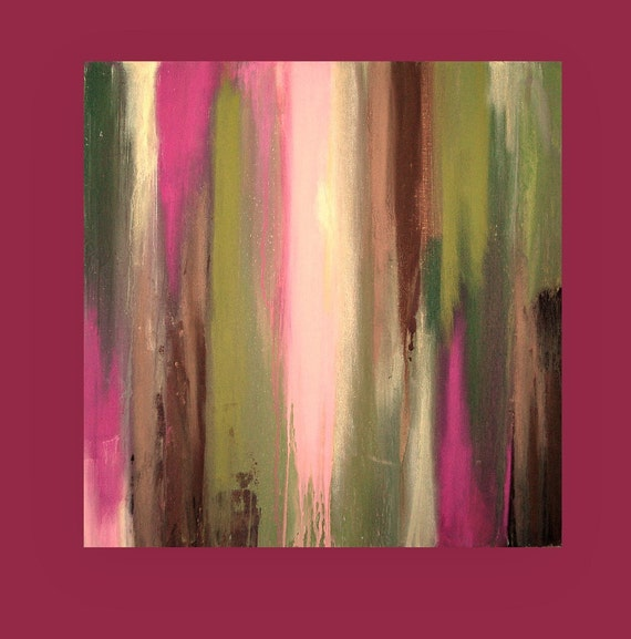 "Canvas Art Abstract Acrylic Painting Modern Original Fine Art Titled: MAGICAL GARDEN 24x24x1.5"" by Ora Birenbaum"