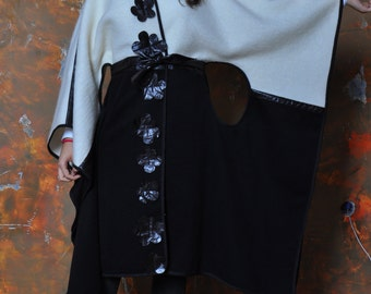 Black and white cape coat Wool cape coat Extravagant cape coat Black and white Maxi cape Woman coat cape Handmade black coat Made by
