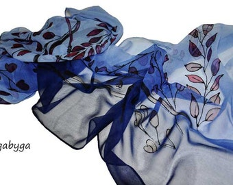 Blue flowers Hand painted scarf  Painted silk scarf Dark blue silk scarf Woman silk scarf Painted luxury silk scarf Gift Made /S0179