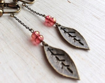 Leaf with Pink Gold Long Chain Clip On Earrings, Metal Leaf Clip on, Non Pierced Earring