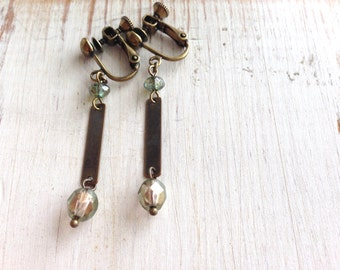 Golden Green with Metal Plate Clip On, Dangle Clip On Earrings, Screw Back Clip Earring