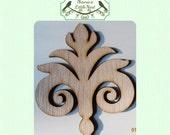 Fancy Fleur-de-lis Wood Cut Out - Laser Cut