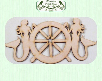 Mermaid and Ships Wheel - (Small) Wood Cut Out -  Laser Cut