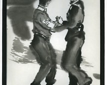 Ink Painting of Two Men Dancing the Argentine Tango