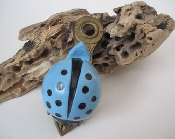 Vintage Allied Brass Blue Lady Bug Note or Picture Holder Clip