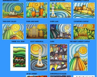 SPECIAL OFFER ANY 4 art greeting cards A5 blank designed and printed in Wales Landscapes & landmarks