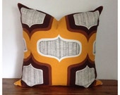 "Cushion Cover Vintage Retro 1960s 1970s 20""x 20"" Retro Throw Pillow"