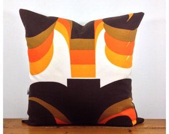 "1960s Vintage ""Omega"" Fabric Cushion Cover, Retro Fabric Throw Pillow 18"" x 18"""