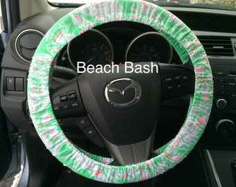 Steering Wheel Cover made with Lilly Pulitzer's Beach Bash fabric