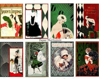 GATSBY Christmas Art Deco Printable Digital Jazz Age TAGS, Cards, Scrapbooking, Journaling, Decoupage, Pendants