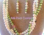 Ivy Leaf 1908 AKA A Kappa Alpha Sorority inspired Pink and Green Ivy Leaf NPHC Greek Sorority Inspired Triple strand Pearl Combo