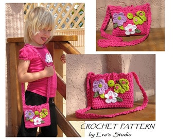 CROCHET PATTERN,Girls Bag / Purse with Butterfly and Flowers, Crochet Pattern PDF,Easy, Great for Beginners,  Pattern No. 13