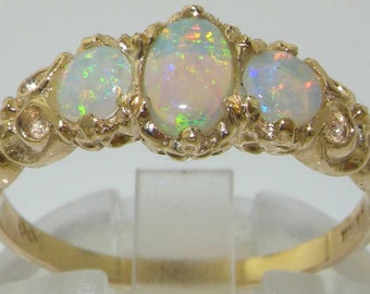 Solid 18K Yellow Gold Three Natural Colorful Opal Ring, English Victorian Style Trilogy Ring - Made in England - Customoize:9K,14K Gold