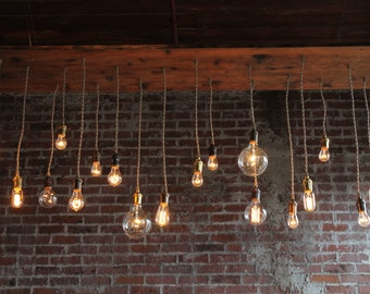 Rustic Industrial Chandelier - Bare Bulb Chandelier with Edison Bulbs, Rustic Dinig Room Chandelier