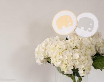 Baby Shower Centerpiece Sticks, Elephant Baby Shower Decor, Gender Neutral Baby Shower, Yellow Gray Baby Shower, Custom Centerpiece