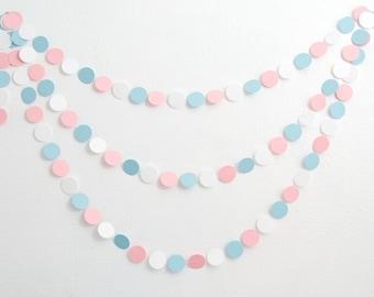Gender Reveal Baby Shower - Paper Garland - Light Blue, Light Pink & White