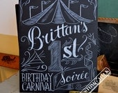 Custom carnival birthday sign, circus birthday sign, hand drawn birthday carnival decor