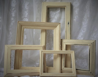 Frame Set 5 Hand Painted Parchement Yellow Shabby Cottage Chic