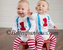 Baby Boys Personalized 1st BIRTHDAY OUTFIT for TWINS-Red and Turquoise Birthday Outfit for Boys-Cake Smash-1 with Suspenders-Boy Leg Warmers