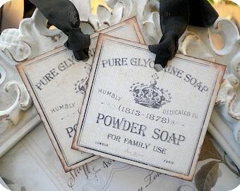 Vintage Powder Soap Label Tags - Set of 6