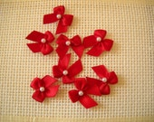 Scarlet Ribbon Bow, Embellishment with faux pearl bead. Set of eight. Other colors available. 1 inch