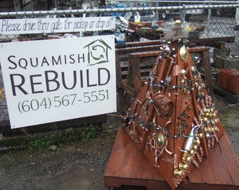 Upcycled Steampunk Tree Art Sculpture Mixed Media - Reclaimed Waste Public Art Installation