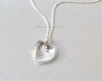 Heart Necklace, Swarovski Crystal Vintage Clear Heart Pendant with Rhinestone, Sterling Silver Chain. Bridal, Bridesmaid. Wedding. N201.