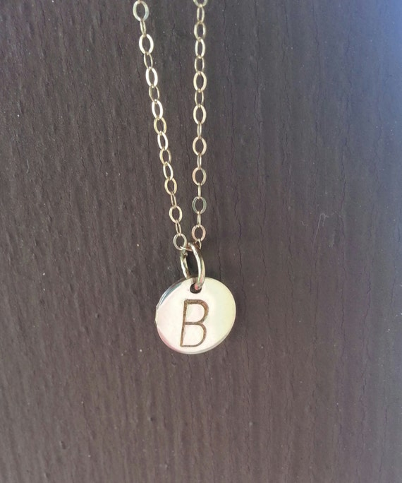 Dainty initial charm necklace,14k  gold filled hand stamped disc, celebrity inspired