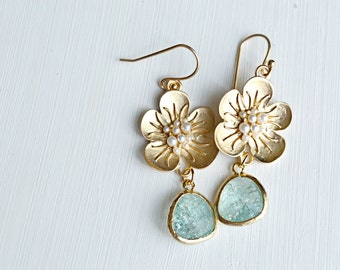 Gold Flower Dangle Earrings, Turquoise Gold Plated Earrings, Wedding Jewelry, Bridesmaids Gifts- T126