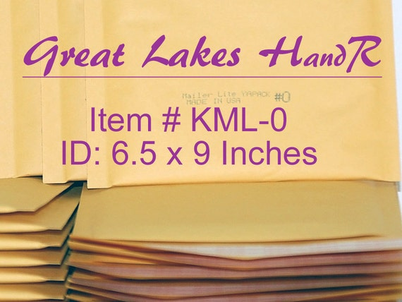 10 DVD Size KML-0, Kraft Bubble Cushioned Envelope Mailers, OD: 7.25 x 9 inches