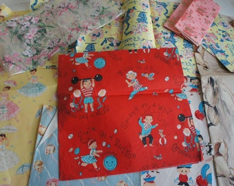 Lot Vintage Wrapping Paper 1950s