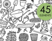 Garden Plant Doodle Clip Art, Hand Drawn Clipart, Lineart, PNG, Instant Download, Flowers, Flower, Floral, Flora, Stickers, Stamps, Tattoo