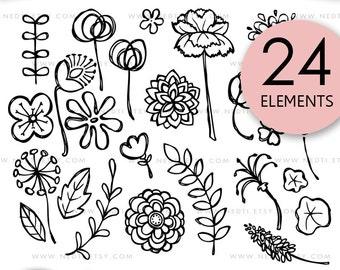 Flower Doodle Clip Art, Hand drawn floral clipart, Digital images, PNG, 300dpi, Flourish, Flowers, Wedding Invitation Card, Logo, Design Kit