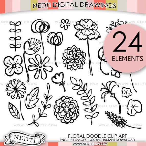 Flower Doodle Clip Art Hand drawn floral clipart Digital