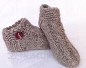 Unisex Adult Chunky Knit Dog Sheep Wool  Blend Yarn Handspun Slippers Women Men Children Teens Woodland Grey Gray Animals