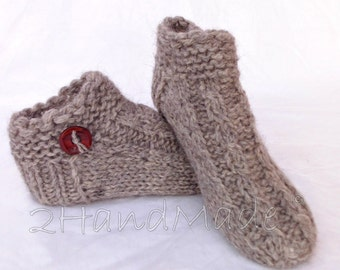 Unisex Adult Chunky Knit Dog Sheep Wool  Blend Yarn Handspun Slippers Women Men Children Teens Woodland Grey Gray Animals