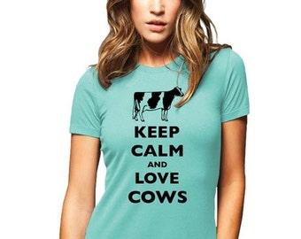 Keep Calm and Love Cows (Holstein Cows) T-Shirt - Soft Cotton T Shirts for Women, Men/Unisex, Kids