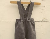 Charcoal grey overall,Size 6-9months grey overalls, boys overalls, adjustable overalls short or knickers length