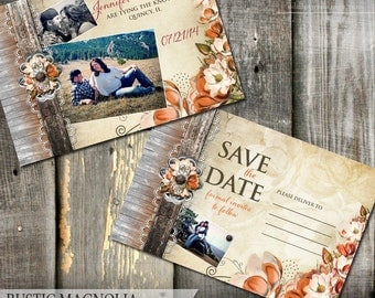 Country Rustic Fall Magnolia Wedding Save the Date Floral Wedding Photo Save the Date DIY Printable Wedding Postcards with Photos Rustic