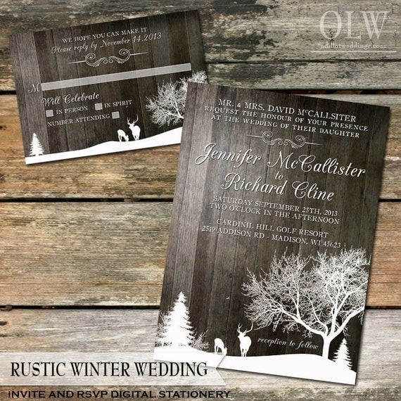 Rustic Winter Wedding Invite and RSVP  Country Winter Snow landscape with Deer and Trees-Wood Background - Digital Printable File