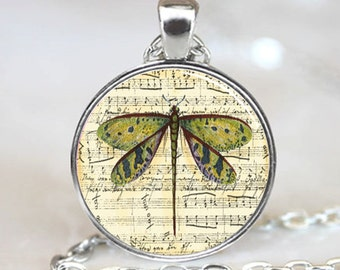 Dragonfly Sheet Music Glass Tile Necklace Pendant (PD0500)