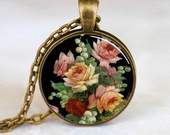 Flower Pendant, Flower Necklace, Flower Jewelry, Flower Charm, Bronze (PD0201)