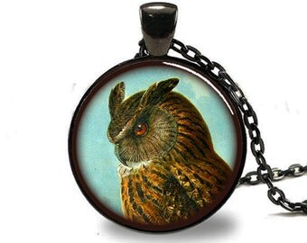 Owl Pendant , Owl Necklace , Owl Jewelry , Brown Owl Pendant, Black (PD0539)