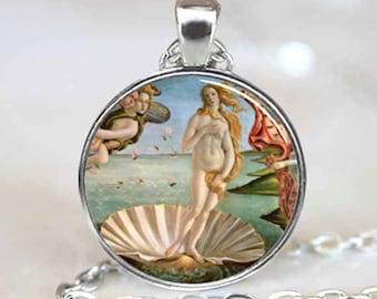 Birth of Venus Pendant , Birth of Venus Necklace , Botticelli Art Pendant , Silver (PD0477)